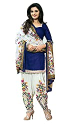 Anshika Lifestyle White and Blue Polycotton Designer Classy Elegant Fashionable Dress Material