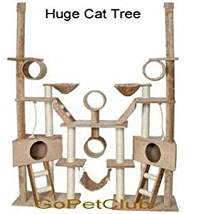 Go Pet Club Cat Tree, 70-Inches x 18-Inches x 106-Inches, Beige