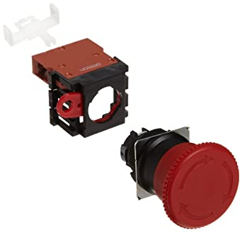 Omron A22E-M-01 Emergency Stop Operation Unit and Switch, Screw Terminal, IP65 Oil-Resistant, Non-Lighted, Push-Lock Turn-Reset Operation, Red, 40mm Diameter, Single Pole Single Throw Normally Closed Contacts