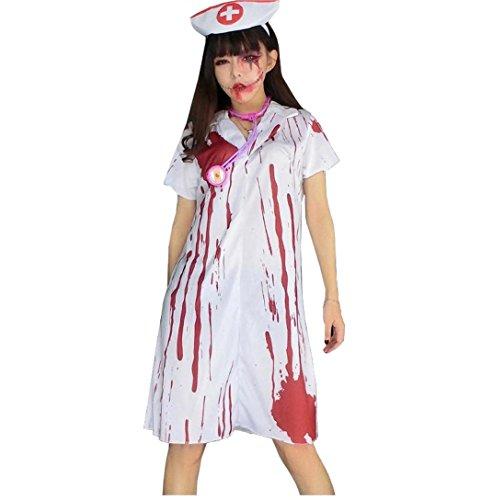 [E Support™ Women's Fashion Zombie Nurse Halloween Costume Party Dress up] (Zombie Nurse Costumes)