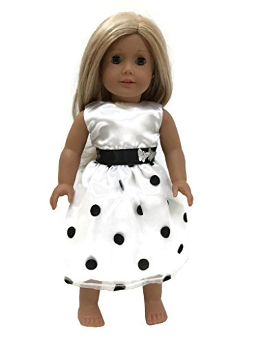 "Glamerup: Francesca - 18"" Doll Party Dress, Black And White Polka Dots"