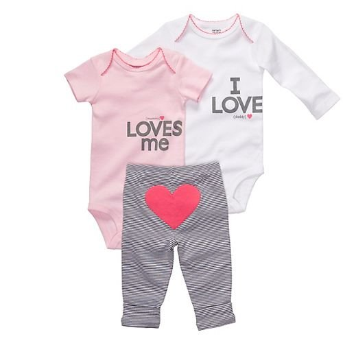 Carter'S Pink & White Love 3-Pc. Bodysuit Set Pink/Multi 9 Mo front-1055324