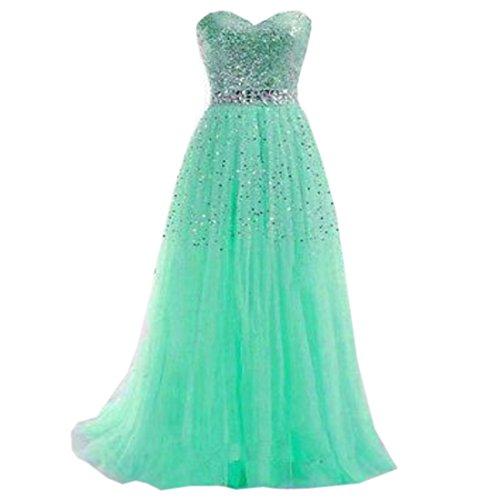 Partiss Women's A Line Sweetheart Beading Evening Dress ,Chinese XL,Green