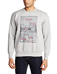 Lawman Men's Cotton SweatShirt (8907201525962_PG-03 SWEAT-168 R/LF/S GRYMEL_XL_Grey Milange)