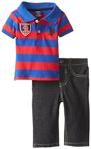U.S. Polo Assn. Baby-Boys Newborn Wide Stripe Jersey Polo And Denim Jean Set, Engine Red, 3-6 Months