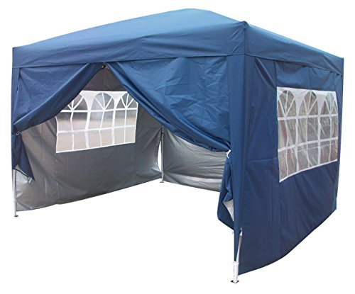 Brand New 10x10 EZ Pop Up Party Tent Canopy Gazebo Navy Blue 4 Walls W/ Free Carry Bag 100% Waterproof