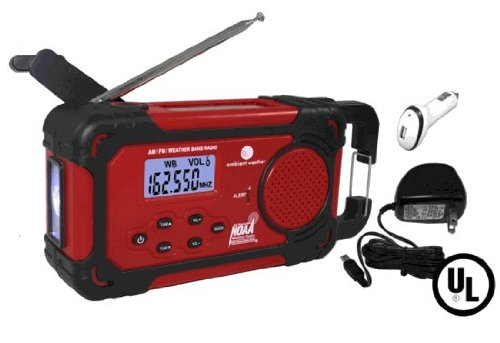 Ambient Weather Wr-333-U Emergency Solar Hand Crank Weather Alert Radio, Flashlight, Smart Phone Charger, Ac And Dc Adaptors