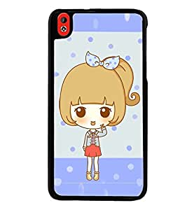 Printvisa Animated Sweet Girl With A Bow On The Head Back Case Cover for HTC Desire 816::HTC Desire 816 G