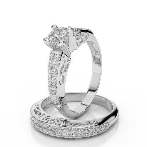 9 KT White Gold Diamond Bridal Set Ring AGWBS-1059