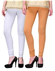 2Day Women's Cotton Churidaar Legging Skin/White (Pack Of 2)