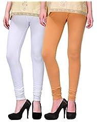 2Day Women's Cotton Churidaar Legging Skin/White (Pack Of 2)