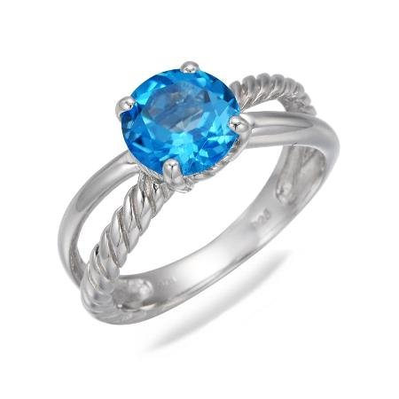 8MM Round Natural Swiss Blue Topaz Ring In Sterling Silver 2.50 CT (Available in Sizes J - S)