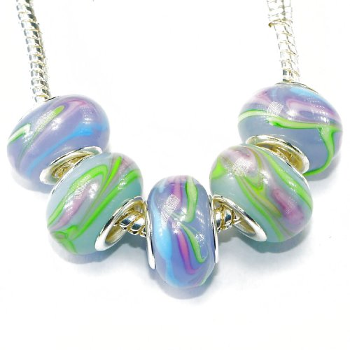 Charm Buddy 5 x Lilac and Green Murano Glass Charm Bead Set with Silver Plated Cores Fits Pandora Troll Chamilia Bracelets #Set-20