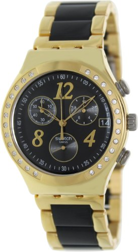 Swatch YCG405G dreamnight yellow black dial metal strap unisex watch NEW