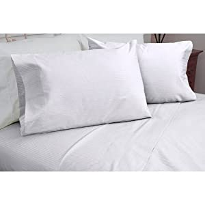 Melange Home 400 Thin Dobby Stripe Sheet Set, White, King
