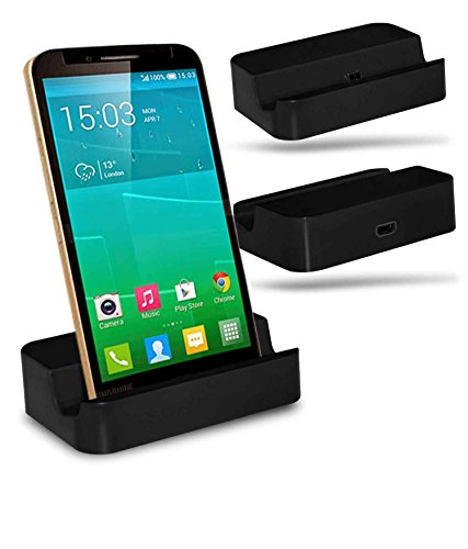 Alcatel Flash Plus + Station d'accueil de bureau avec chargeur Micro USB support de chargement - Black - By Gadget Giant®