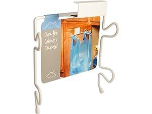 spectrum designs 65400 over the cabinet door trash bag holder white grocery bag. Black Bedroom Furniture Sets. Home Design Ideas