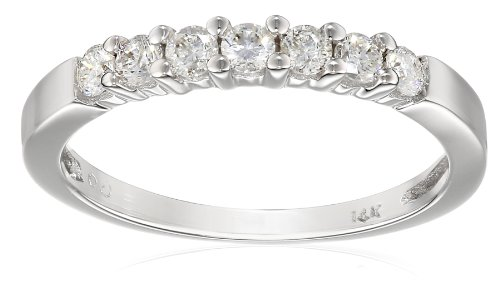 14k White Gold 7-Stone Diamond Ring (1/4 cttw, H-I Color, I1-I2 Clarity), Size 5