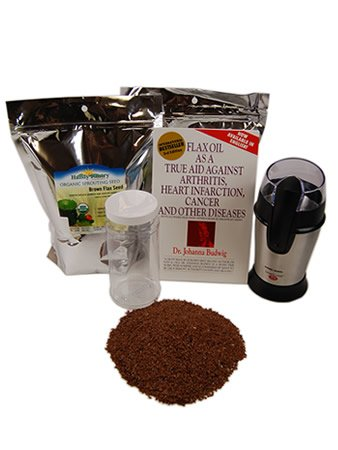 Organic Flax Seed Grinding Kit - Flaxseed Grinder, Brown Flax Seeds, Book & Instructions - Omega Oils, Fiber & Vegan Egg Substitute