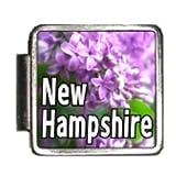 New Hampshire State Flower Purple Lilac Photo Italian Charm Bracelet Link