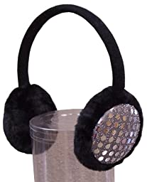 N'ice Caps Girls Sequin Trimmed Adjustable Ear Muffs (black/silver)