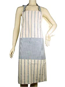 Homespun blue striped and gingham French country apron