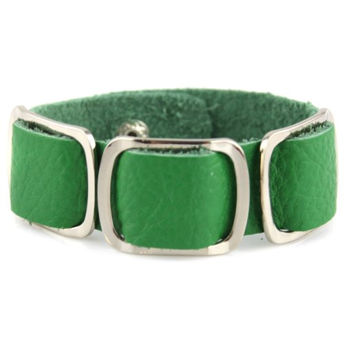 Soft Leather Bracelet - Colored White Brass Loops - Button Snaps - Green
