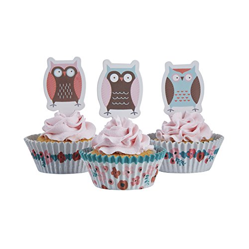 Ginger Ray Patchwork Owl Cupcake Cases & Cake Topper Decoration Set, Mixed