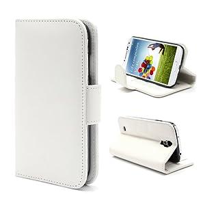 iProtect PU Leder Tasche im Bookstyle Samsung Galaxy S4 Hülle Glattleder weiß
