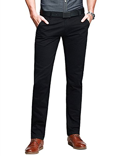 Match Mens Slim-Tapered Flat-Front Casual Pants(Black,30W x 31L) (Skinny Dress Pants compare prices)