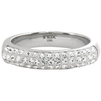 Size 9 - Inox Jewelry Women's cz 316L Stainless Steel Band Ring