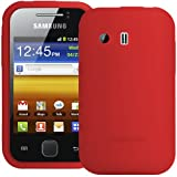 Red SuperTUFF Silicone Xylo-Skin Case Cover, ClearICE LCD Screen Protector and In Car Charger Accessory Bundle for the Samsung Galaxy Y S5360 Mobile Phone.
