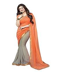 VinayTM Grey Orange Georgette Printed Lace Work Saree with Blouse Piece