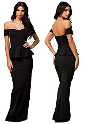 made2envy Drop shoulder Peplum Maxi Evening Dress