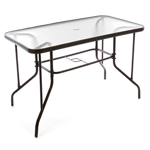 Bistrotisch-eckig-Balkontisch-mit-durchsichtiger-Glasplatte-und-Schirmstnderloch-4-cm-Gartentisch-Glastisch-110-x-60-x-72-cm-wetterfest-brauner-Stahlrahmen