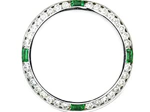 Ladies 1ct Diamond Bezel 18kw for Rolex with Emeralds