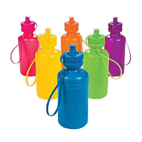 Neon Sport Water Bottles 1 Dozen Bulk Toy Cheap Low