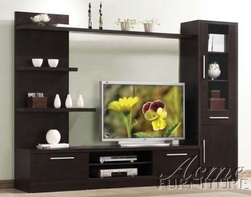 3pc Entertainment Center Contemporary Style in Espresso Finish by Acme