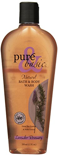 Pure and Basic Natural Bath and Body Wash, Lavender Rosemary, 12 Fluid Ounce Basic Natural Bath