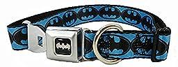 Blue and Black Batman Logo Seat Belt Buckle Dog Collar 1\