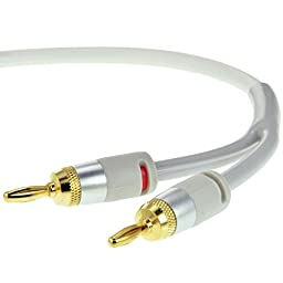 Mediabridge 16AWG ULTRA Series Speaker Cable with Dual Gold Plated Banana Tips (25 Feet) - CL2 Rated - High Strand Count Copper (OFC) Construction - White [New and Improved Version] (Part# SWT-25W )