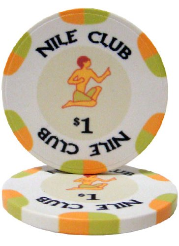 25 $1 Nile Club 10 Gram Ceramic Casino Quality Poker Chips