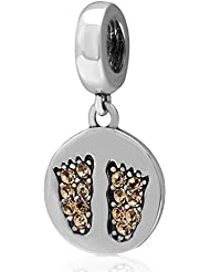 Choruslove Baby Feet Jonquil Crystal Dangle Charm In 925 Sterling Silver Bead For European Bracelet Or Necklace