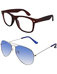 Sheomy Unisex Combo Pack Of Transparent Brown Wayfarer Sunglasses And Silver Light Blue Aviator Sunglasses For...