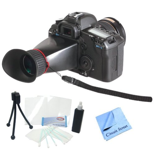Professional Lcd Viewfinder Kit For Canon Eos 6D, 7D, 5D Mark Ii, 5D Mark Iii Digital Slr Cameras. Also Includes Cleaning Kit, Lcd Screen Protectors & Cs Microfiber Cleaning Cloth