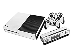 Generic Full Body Screen Protector Vinyl Carbon Fiber White Skin Decal For Xbox one Console and 2PCS Xbox one Controller Skins Stickers from Generic