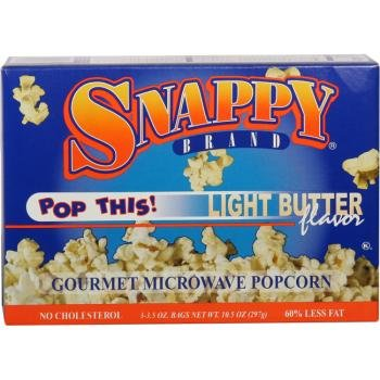 12/3 Pack Light Butter Popcorn - Microwave [36 Pieces] *** Product Description: Packaged 12 Per Box 3 Boxes Per Case For A Total Of 36 Popcorn Bags. 12/3 Packs Per Case - Snappy Light Butter Microwave Popcorn Just A Touch Of Butter *** front-609836