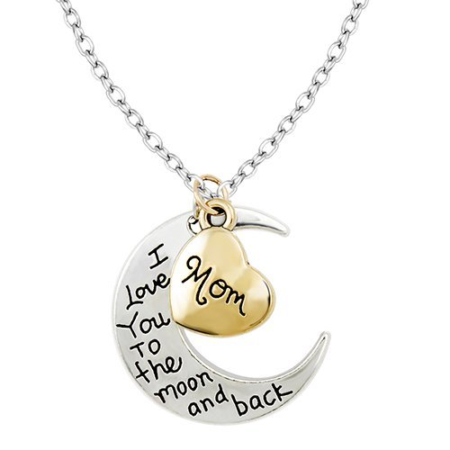 Gold   Silver I Love You To The Moon & Back Necklace Pendant Charm Gift Present (Mom)