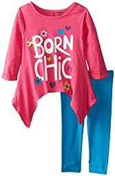 Gerber Graduates Baby Girls\' Born Chic Long Sleeve Top and Turquoise Legging Set, Born Chic, 12 Months
