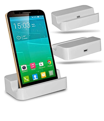 Alcatel Flash Plus + Station d'accueil de bureau avec chargeur Micro USB support de chargement - White - By Gadget Giant®